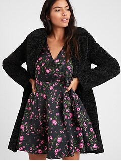 Floral Puff-Sleeve Wrap Dress