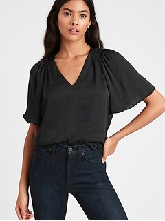 Satin Flutter-Sleeve Top