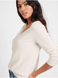 Wide V-Neck Sweater Top