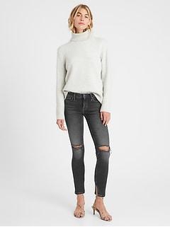 Petite Mid-Rise Skinny Jean with Split Hem