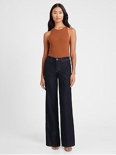 Petite High-Rise Wide-Leg Zipper Pocket Jean