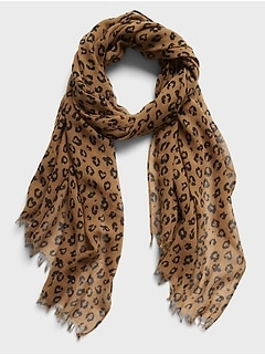 Leopard Print Cotton-Wool Scarf
