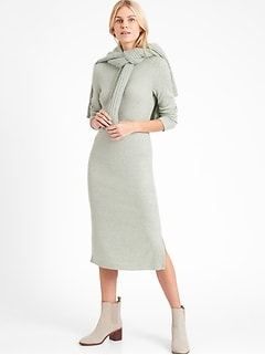 Ribbed-Knit Dress with Side Slit