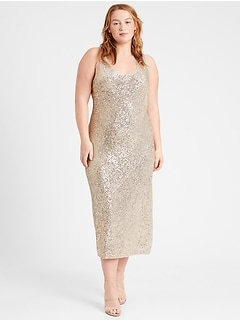 Sequin Bias-Cut Slip Dress