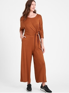 Cozy Ribbed Dolman-Sleeve Jumpsuit