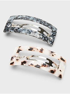 Tortoise Rectangle Hair Clip 2-Pack