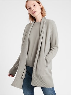 Chandail cardigan long en cachemire
