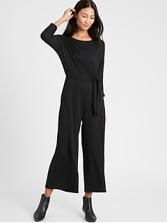 Petite Cozy Ribbed Dolman-Sleeve Jumpsuit