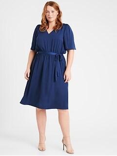 Satin Flutter-Sleeve Dress