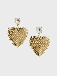 Texture Heart Drop Earrings