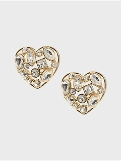 Gem Heart Stud Earrings