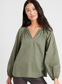 Cotton-Linen Balloon-Sleeve Top