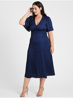 Satin Flutter-Sleeve Midi Dress