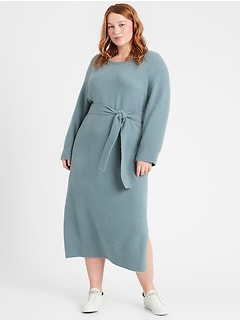 Flare-Sleeve Sweater Dress