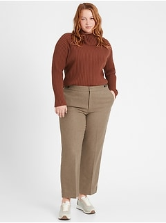 High-Rise Straight Elastic-Waist Pant