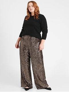 Petite High-Rise Wide-Leg Sequin Pant