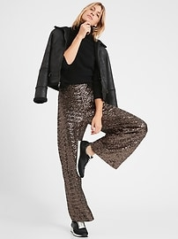 High-Rise Wide-Leg Sequin Pant