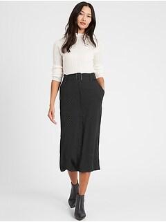 Petite Heritage Button-Front Midi Skirt