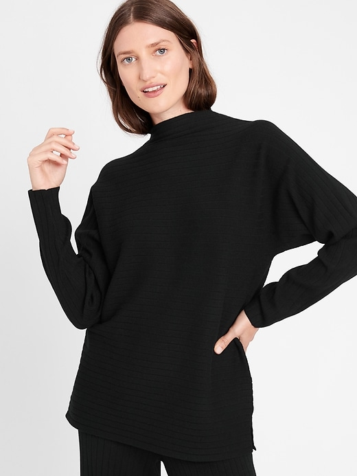 Petite Ribbed Funnel-Neck Sweater