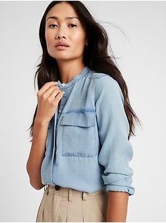 Petite Relaxed Banded-Collar Shirt