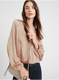 Petite Satin Balloon-Sleeve Top
