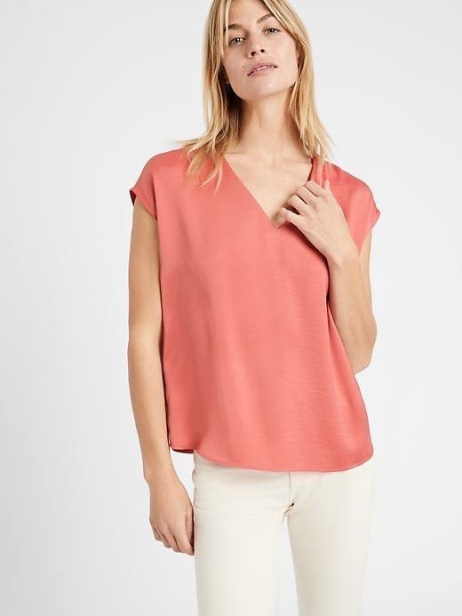Relaxed Satin V-Neck Top