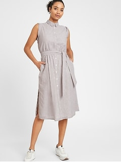 Stripe Cotton-Linen Shirtdress