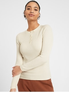 Henley Sweater Top with Silk