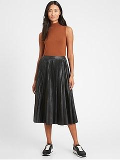Petite Vegan Leather Pleated Midi Skirt