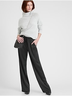 Petite Wide-Leg Satin Pull-On Pant