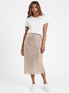 Petite Sequin Bias-Cut Midi Skirt