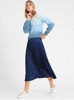 Petite Pleated Midi Skirt