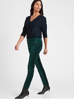 Mid-Rise Skinny Velvet Pant
