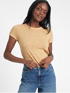 T-shirt ras du cou, coupe étroite, Petite