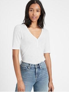 Petite Slub Cotton-Modal Henley T-Shirt