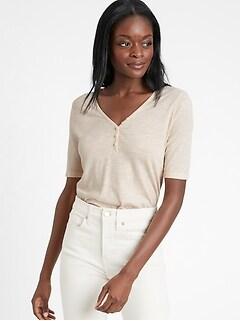 Slub Cotton-Modal Henley T-Shirt