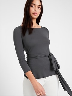 Petite Threadsoft Tie-Front Top
