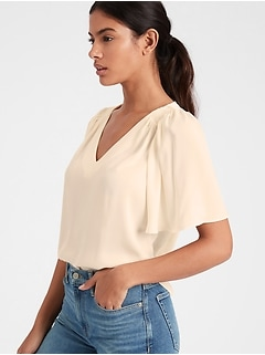 Petite Satin Flutter-Sleeve Top