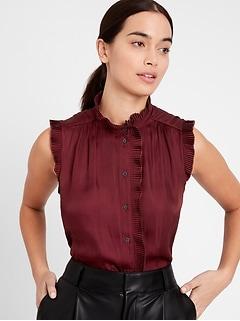 Satin Pleated Shirt