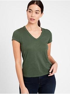 Petite Slub Cotton-Modal V-Neck T-Shirt
