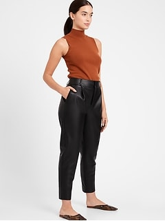 Petite High-Rise Tapered Vegan Leather Pant