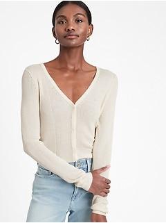 Cardigan Sweater with Silk