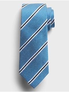 Multi Soft Stripe Silk-Linen Tie