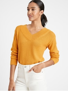 Petite Cotton-Hemp V-Neck Sweater