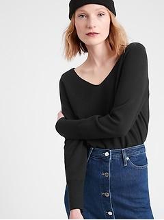 Petite Wide V-Neck Sweater Top