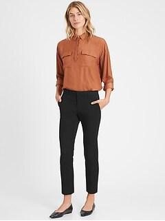 Pantalon à carreaux métalliques, coupe droite Avery longueur à la cheville