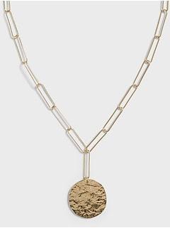 Hammered Pendant Link Necklace
