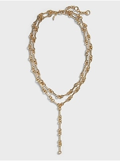 Interlink Double Chain Y Necklace