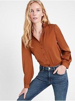 Soft Satin Ruffle-Collar Shirt