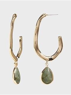 Stone Drop Hoop Earrings